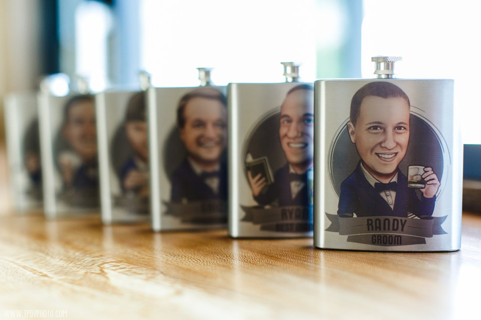 Groomsmen gifts of flasks with their caricature on it - Maryland Wedding Photographer