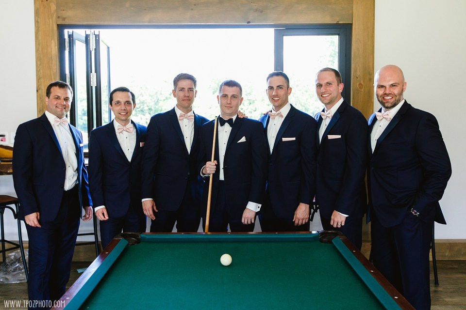 Pool table Groom's Lounge at Rosewood Farms - Maryland Wedding Photographer