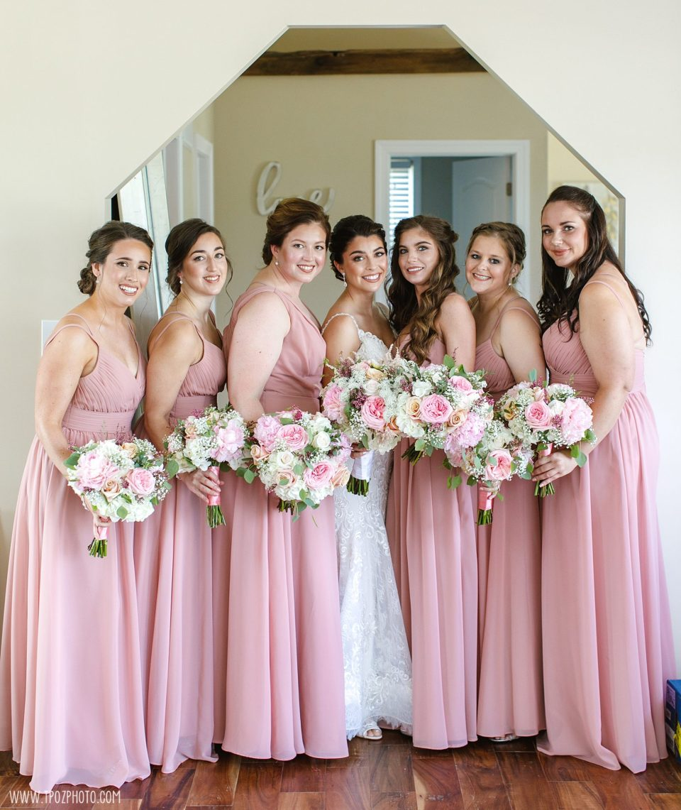 Bridesmaids in pink dresses at Rosewood Farms - Maryland Wedding Photographer