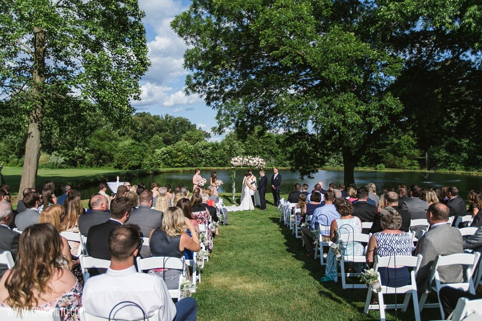 Wedding Ceremony by the pond at Rosewood Farms