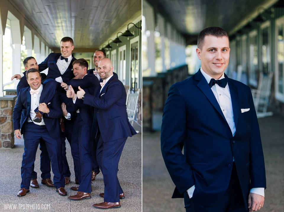 Fun poses of the groomsmen at Rosewood Farms