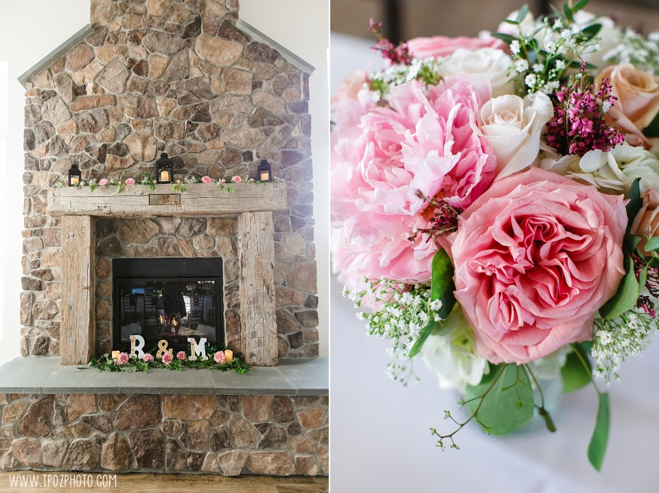 Fireplace and flowers at Rosewood Farms