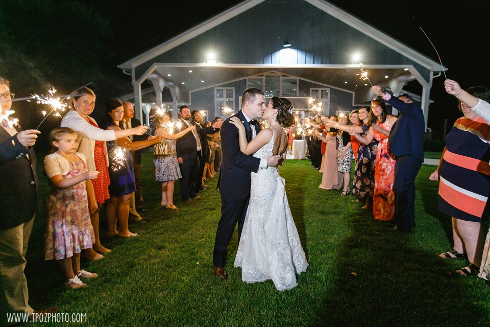 Rosewood Farms wedding sparkler exit  - Maryland Wedding Photographer