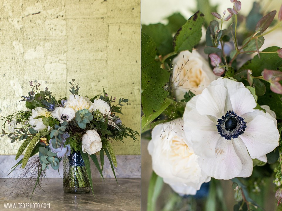 Crimson & Clover wedding bouquet anemones