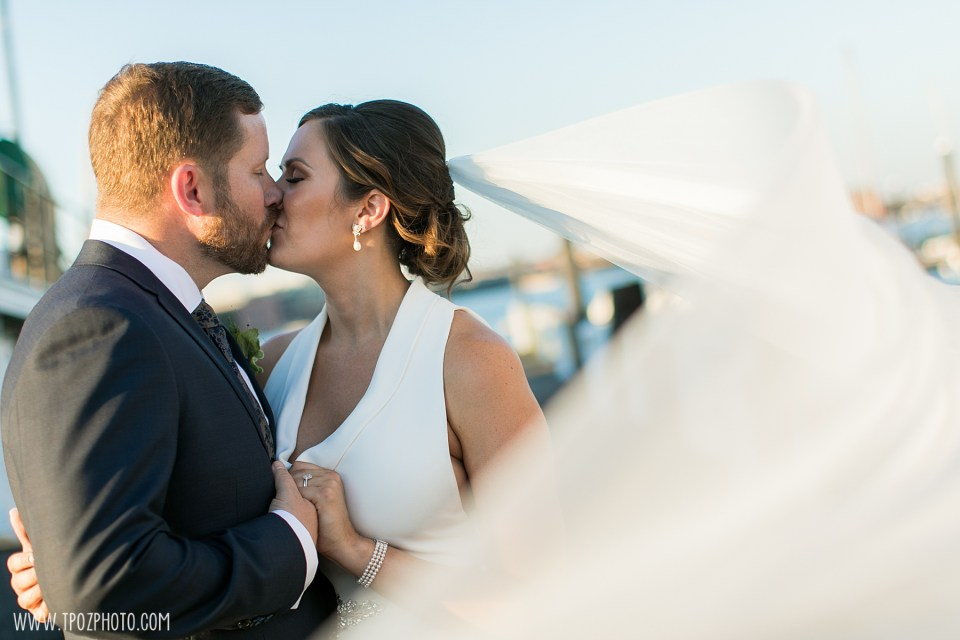 bride and groom at a Baltimore Museum of Industry wedding