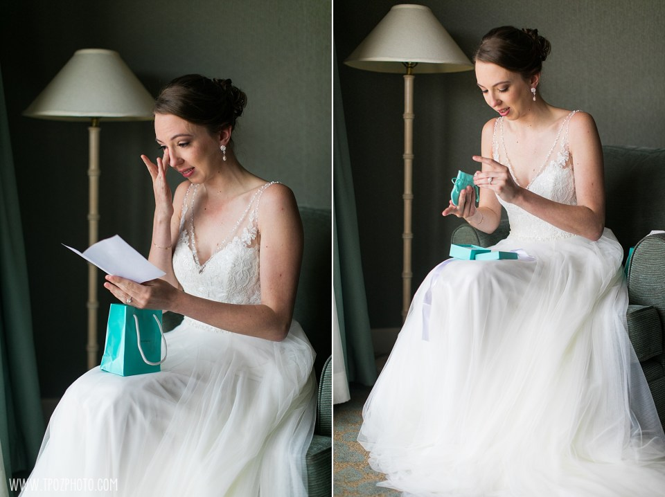 Bride gets a Tiffany gift from the groom