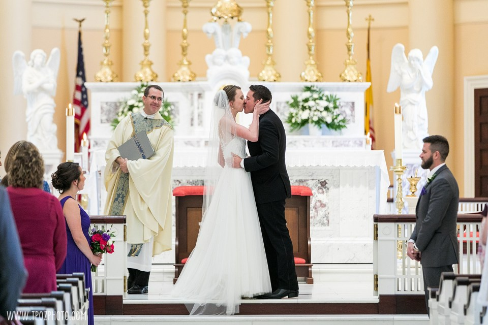 The Kiss at a Baltimore Basilica Wedding Ceremony