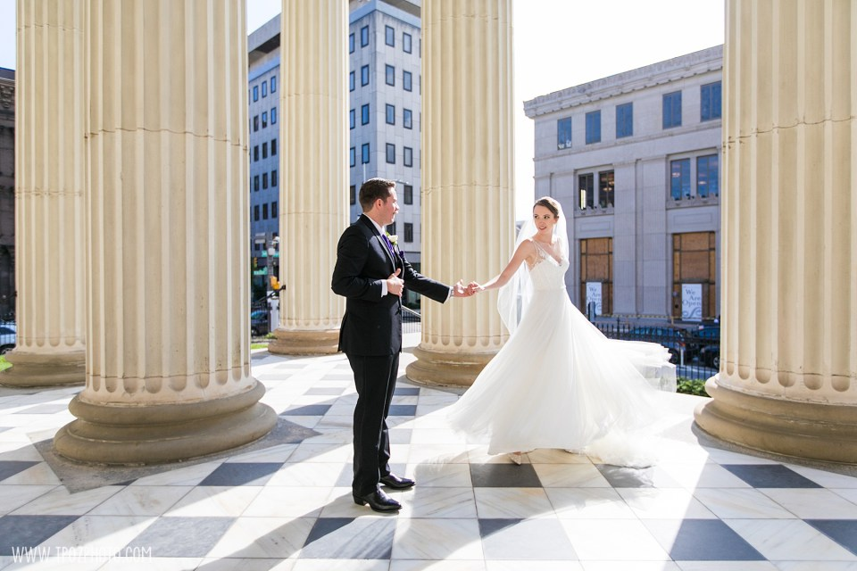 Groom twirls his bride Baltimore Basilica Wedding Photos