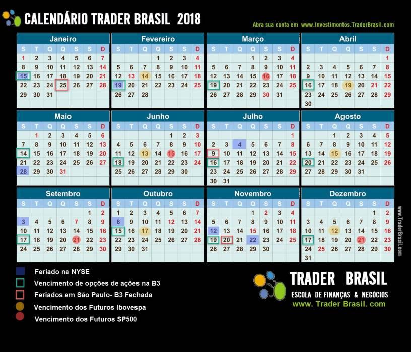 Calendário Mercado Financeiro 2018