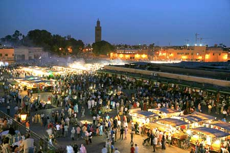 Djema Fna Square at Night in Marrakech Morocco