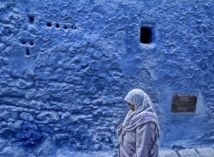 Woman Walking in Chefchaouen