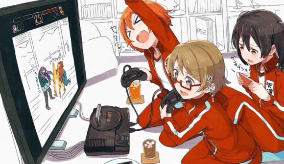 Rin, Hanayo, and Nico enjoy a competitive game.