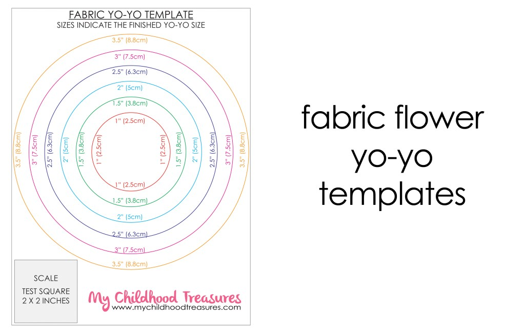 fabric flower yo yo templates