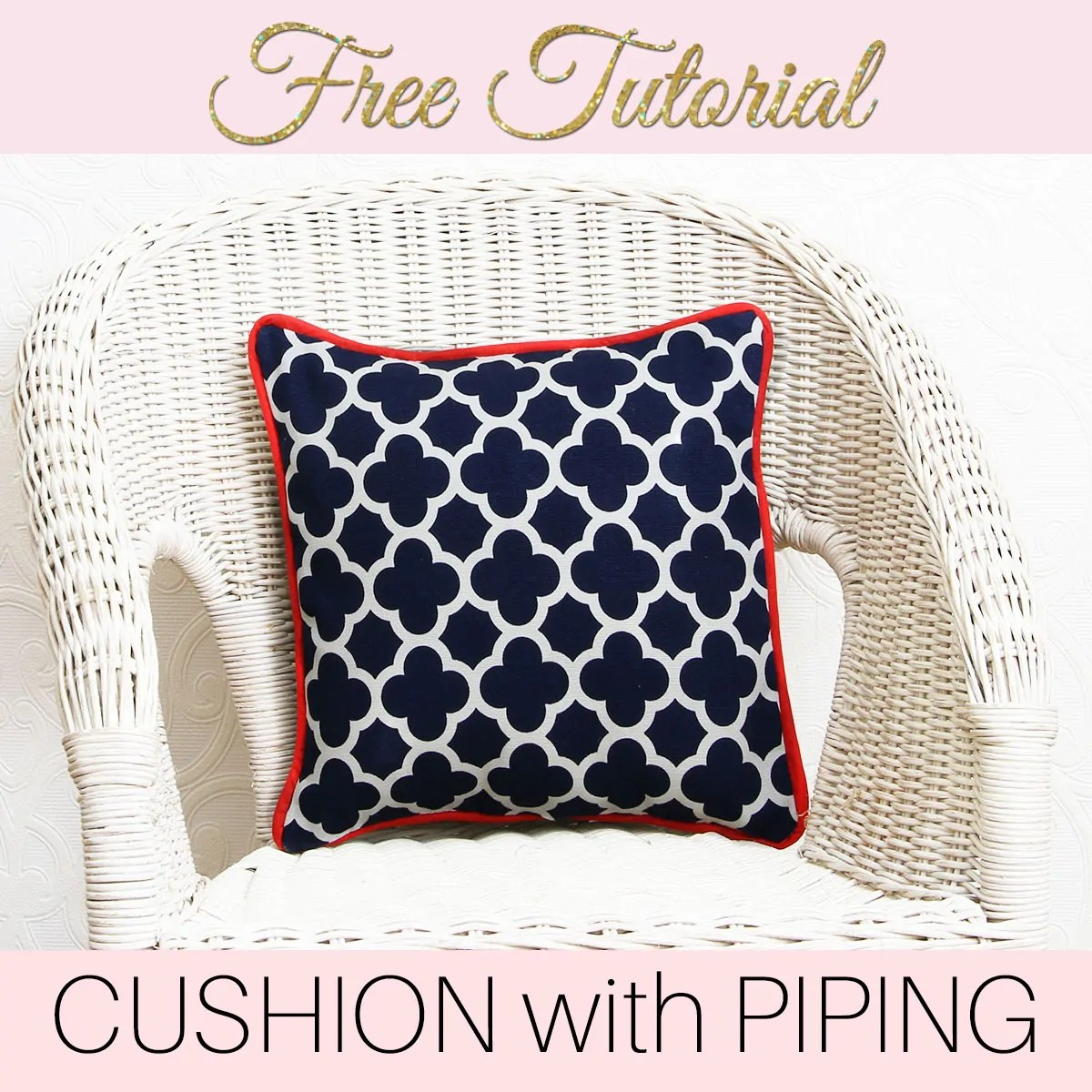 Make a Cushion Cover with Piping - Cushion Cover Patterns & Christmas Pillows DIY - Pretty Cover with Tree Applique |TREASURIE pillowsntoast.com