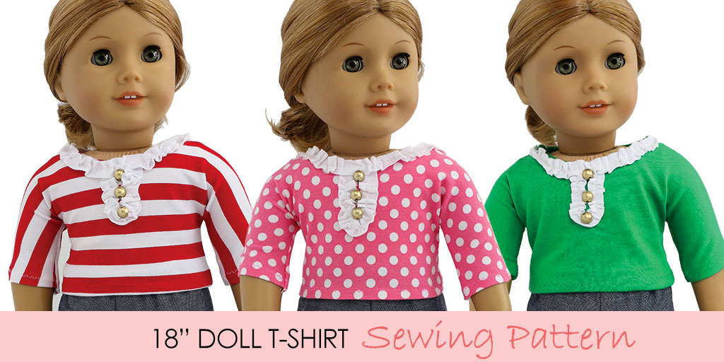 Free Doll Clothes Pattern - 18 inch Doll Tshirt Pattern |TREASURIE