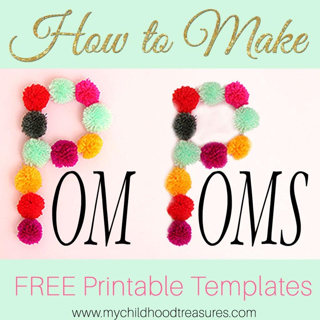 dcd09a1bbb6 How to Make Pom Poms  Printable Pom Pom Template