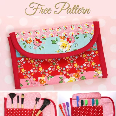 Free Clutch Pattern – DIY Makeup Brush Roll