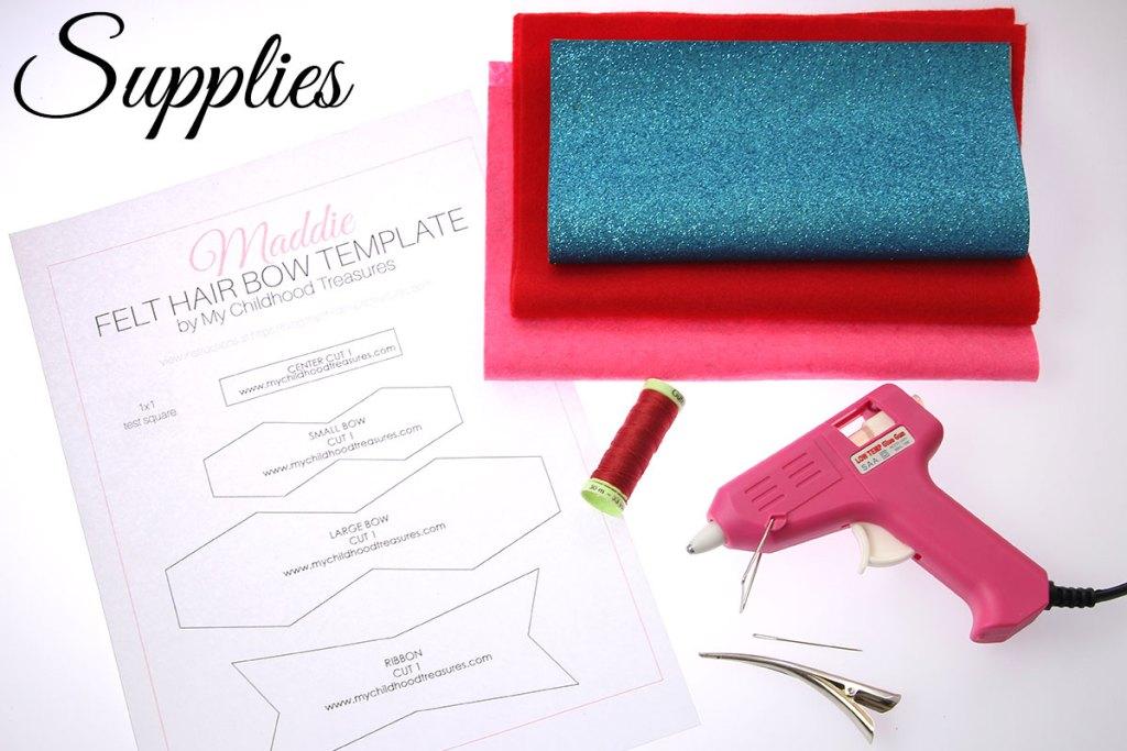 Diy felt bow with free printable pattern treasurie diy felt bow supplies pronofoot35fo Gallery