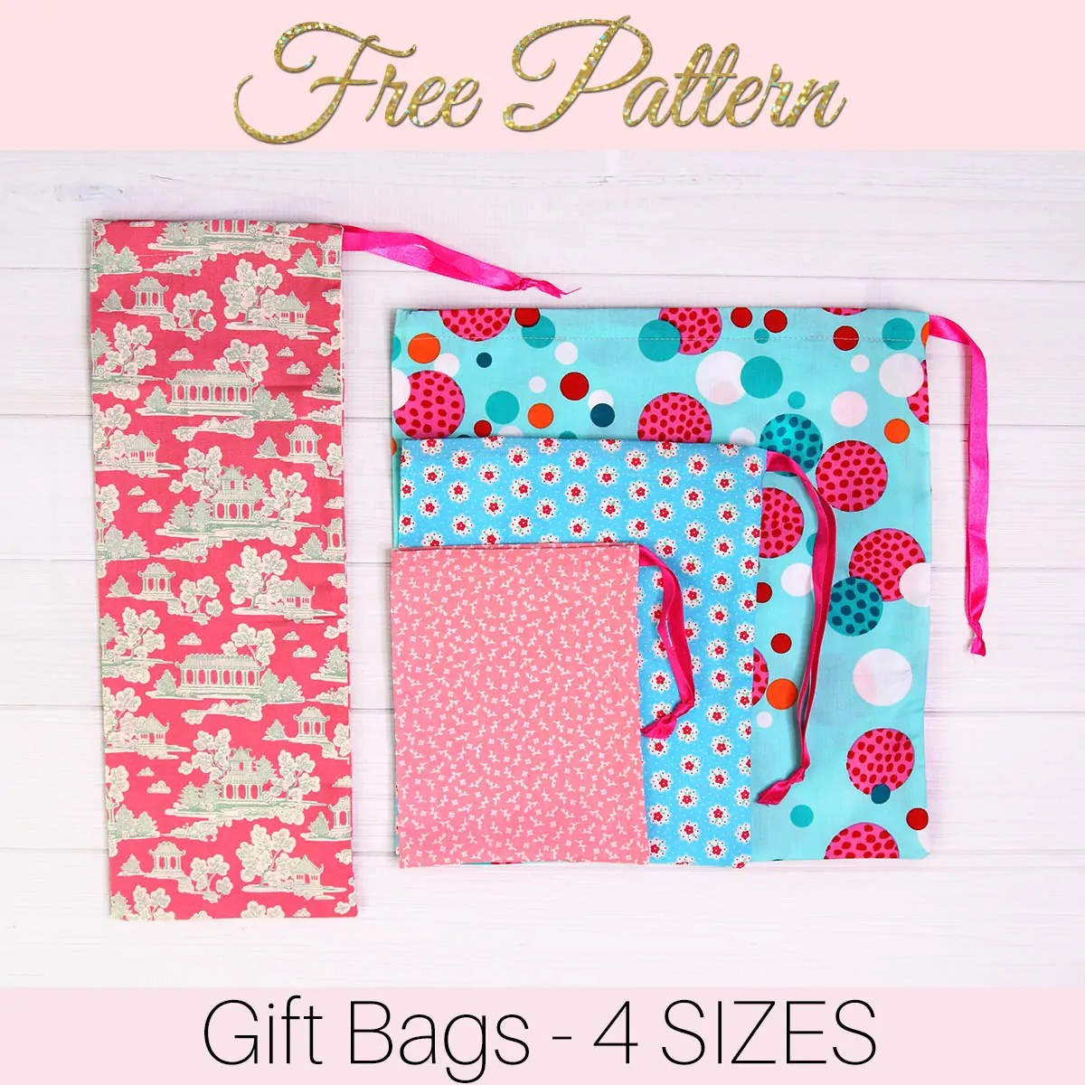 How To Make Gift Bags From Fabric In 5 Minutes 4 Sizes Treasurie
