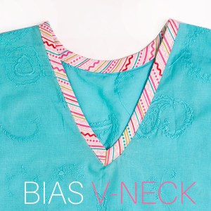 how to sew a v neck with bias