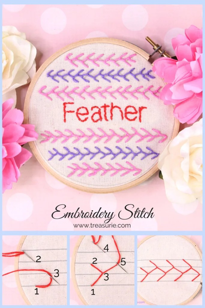 Feather Stitch Embroidery Tutorial with step by step photos