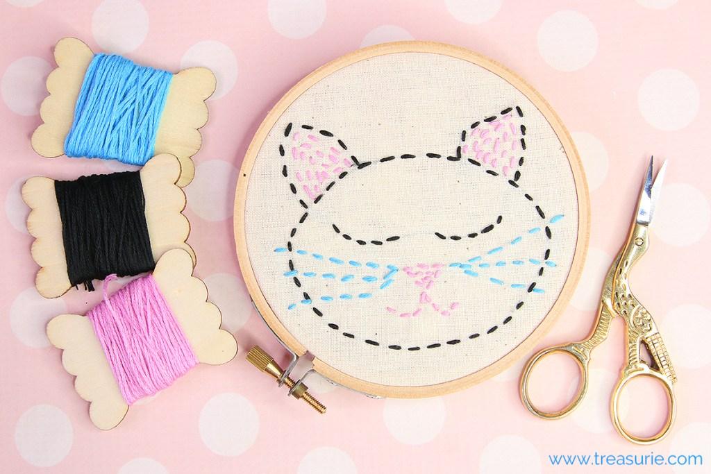 running stitch cat template