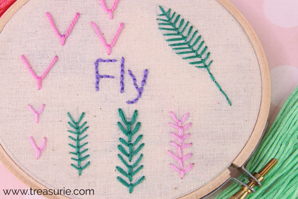 fly stitch vertical and joined