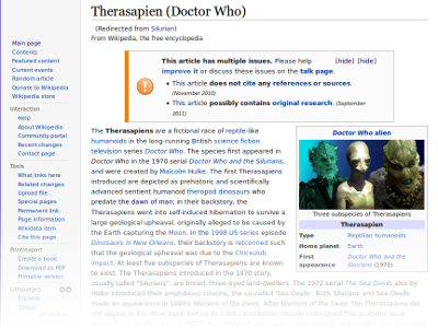 Hypothetical Wikipedia article about the Silurians