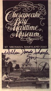 Chesapeake Bay Maritime Musem Brochure Cover, Autographed by William Donald Schaefer