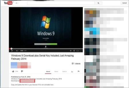図5:Windows 9 の無料ダウンロードを提供する Youtube の動画ページ