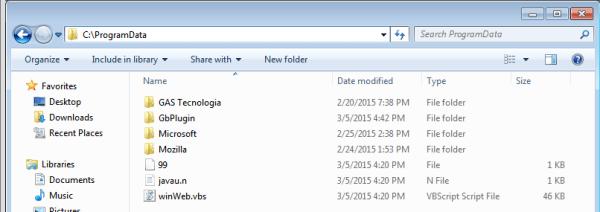 Figura 4: Pasta ProgramData onde estão os arquivos salvos