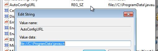 Figura 8: Registro do Windows na parte de Proxy