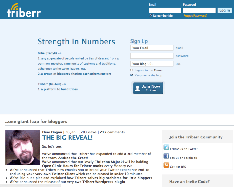 triberr homepage feb 2012