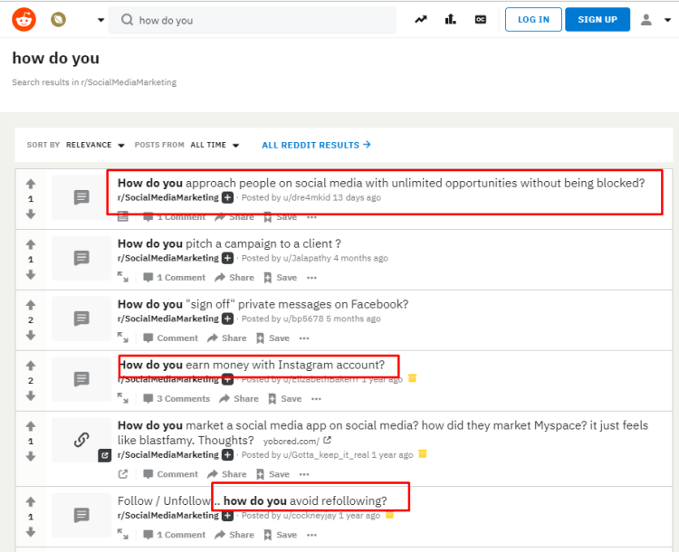 Reddit Search Results for Topics - Content Curation