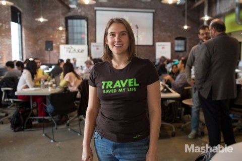 Chandra poses with her Travel Saved My Life Branded tripchi shirt at MashHacks Travel Hackathon