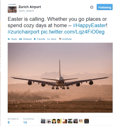 Zurich Airport Easter wishes on Twitter