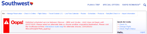 Southwest International DEN-AUA Search