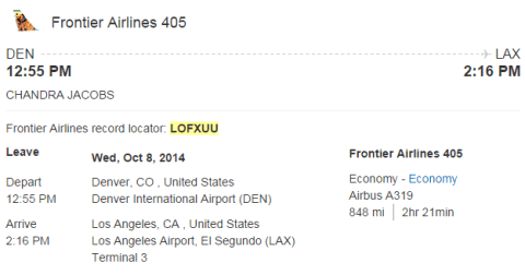 Orbitz Booking for Frontier 405