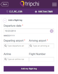 tripchi airport app - add your flight