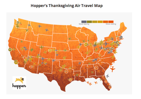Hopper's Thanksgiving Travel Map