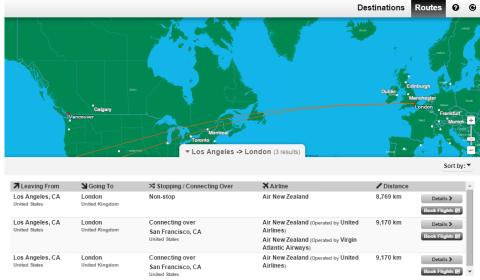 Air New Zealand Flight NZ2 Route Map