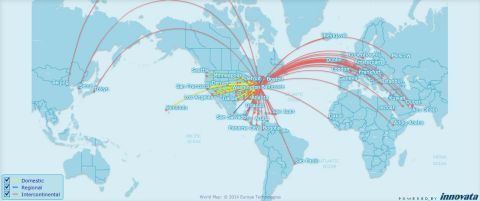 Nonstop routes from Baltimore/Washington, Washington Dulles and National, November 2014. (Innovata FlightMaps Analytics)