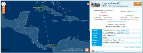 FlightAware Copa Airlines CM437 stats