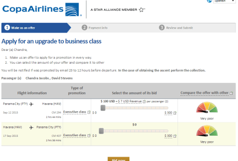 Copa Airlines branded fares upsell bidding approach