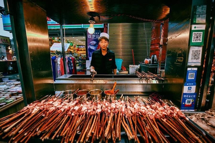 Halal lamb skewers in Xian