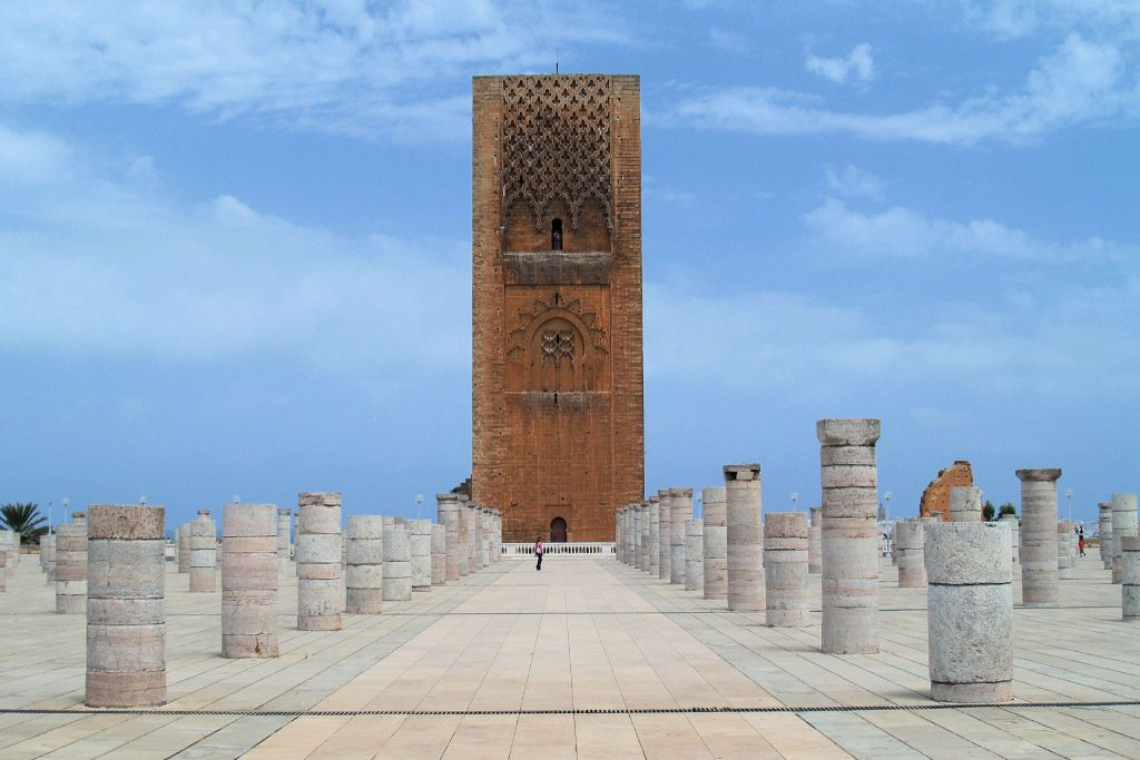 Things to do in Morocco during winter: visit Hassan tower, a traditional Moroccan architecture.