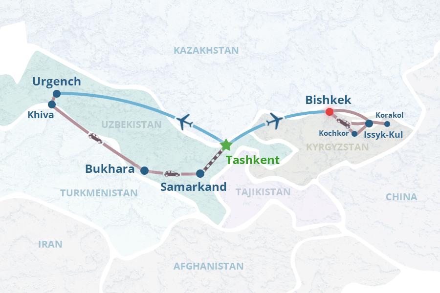 Express Central Asia itinerary: Kyrgyzstan and Uzbekistan