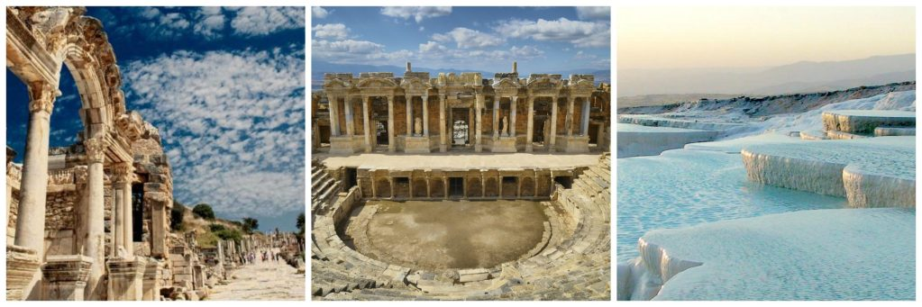 Visit Turkey: Pamukkale natural pools Turkey, Efeso Turkey, ruins of Hierapolis