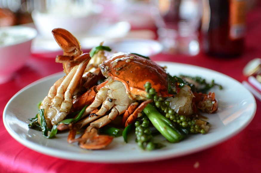 Kampot peppper crab are when fresh crabs are stir-fried with peppercorns