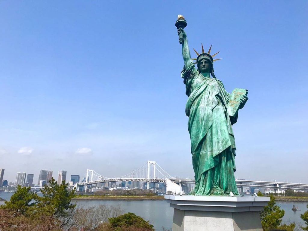 Odaiba is a large artificial island with Lady Liberty on it.